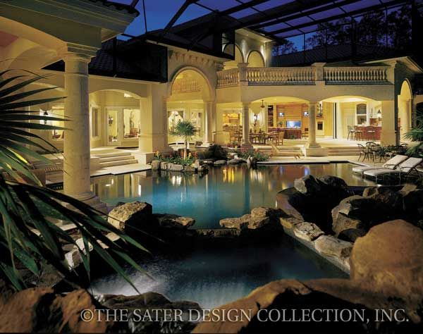 Fiorentino Mediterranean Home Plan-Sater Design CollectionA GORGEOUS EXTERIOR VIEW OF THE BACK OF HOUSE,LIVING SPACE AND SWIMMING POOL.CHERIE