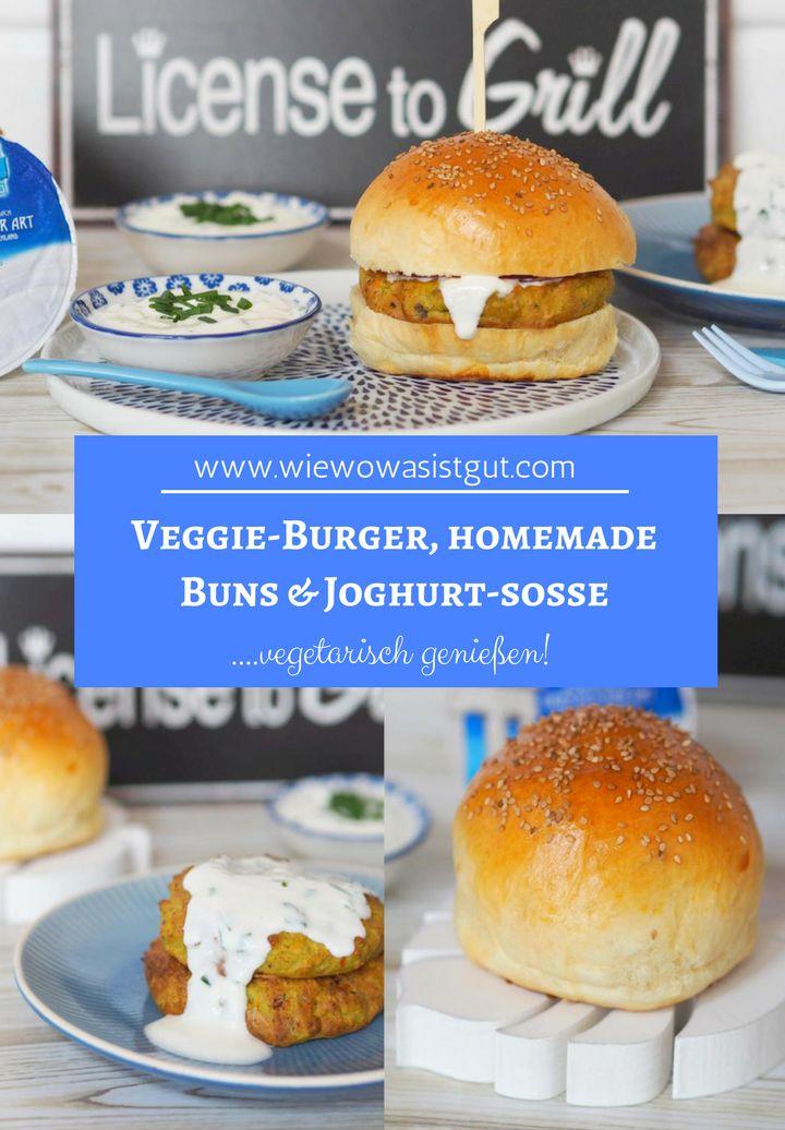 [Werbung] Veggie-Burger sind ja so lecker. Mit selbstgemachten Hamburger Brötchen und einem leckeren Joghurt-Dip. Diesmal gab es den vegetarischen Hamburger mit Kichererbsen-Brokkoli-Patties. Auf den fluffig weichen Burger Buns ein Traum. Gebacken wurde der Patty im Airfryer (Heißluftfritteuse) ganz ohne Fett. Meine Kinder essen das sehr gerne und im Thermomix ist das Gemüse ganz schnell gemixt.  #hamburger #vegetarisch #elinas #veggie