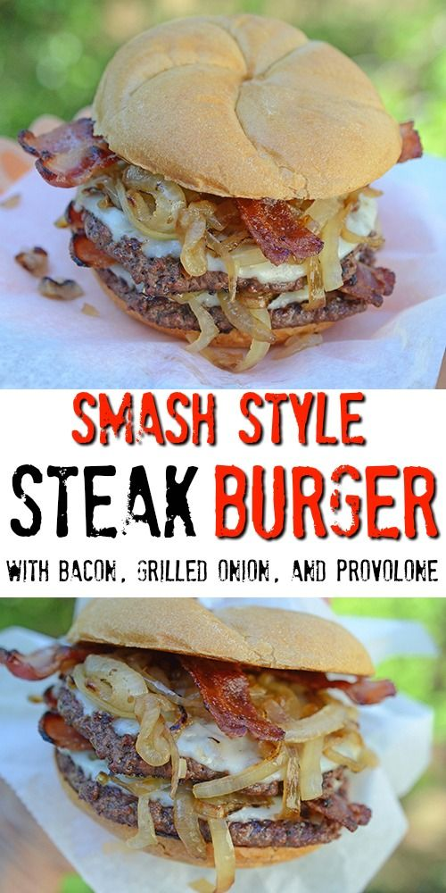 Smash Style Steak Burger with Bacon, Grilled Onion, and Provolone featuring Certified Angus Beef for #NationalBurgerMonth #BestBeef #GoRare