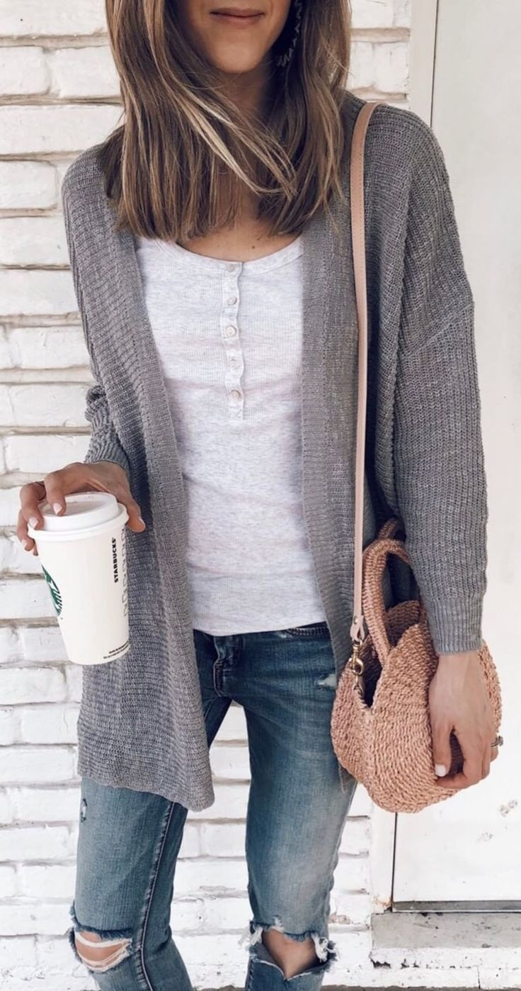 41a3735096 Grey ribbed cardigan sweater