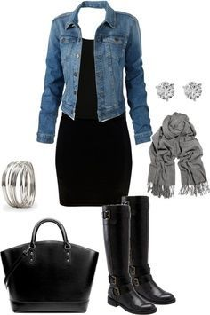 black dress, boots, jean jacket, gray scarf.