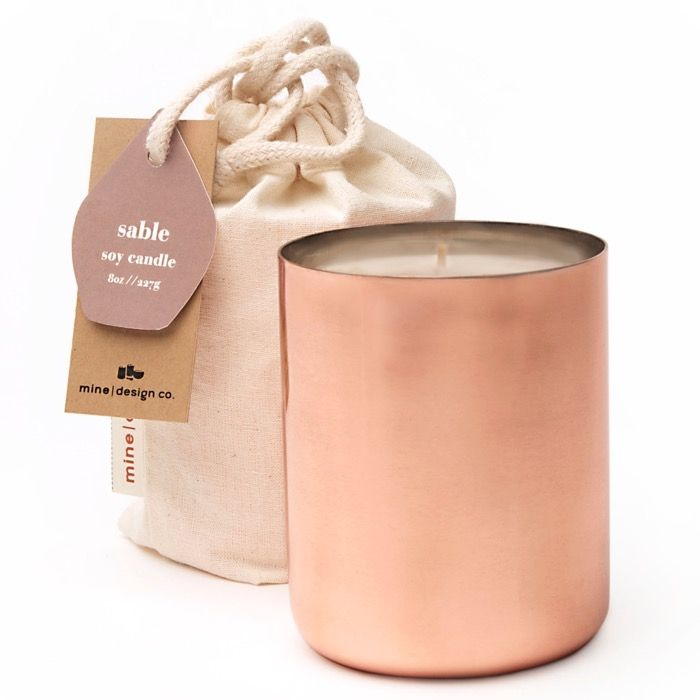Mine Design's Copper Tin Soy Wax Candle. Available at CP retail stores.                                                                                                                                                      More