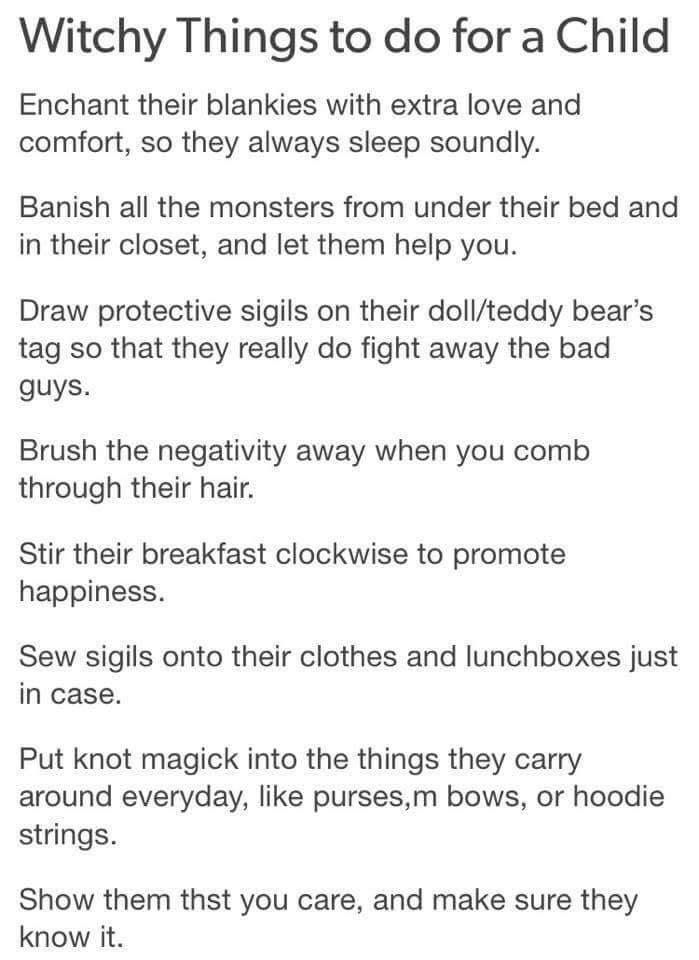 Witchy things to do for a child.