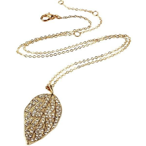 Amrita Singh Women's Lux Leaf Pendant Necklace - Gold ($25) ❤ liked on Polyvore featuring jewelry, necklaces, gold, gold tone necklace, gold colored necklace, long gold necklace, gold pendant and leaves necklace