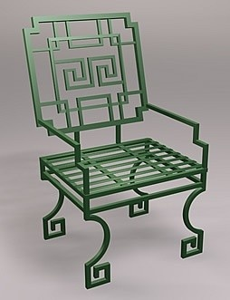 Greek Key Lounge Chair, Wrought Iron