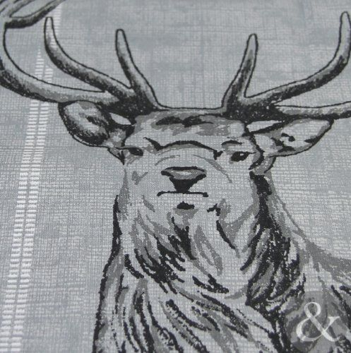 HIGHLAND STAG DUVET COVER - Cotton Rich Quilt Cover Scandinavian Bedding Bed Set Charcoal ( grey black ) King Size Duvet Cover ( kingsize )