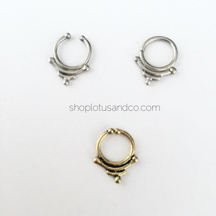 Material: brassRing size: 16gclips are adjustable. you may gently open and close them to best suit your septum.clip colors: silver or goldring colors: silver (for now - gold coming soon)BODY JEWELRY IS FINAL SALE. NO RETURNS/REFUNDS.