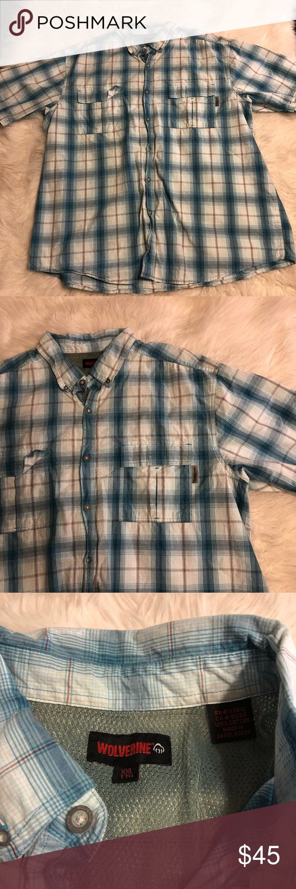 Wolverine short sleeve with breathable mesh Great condition Wolverine Shirts Casual Button Down Shirts