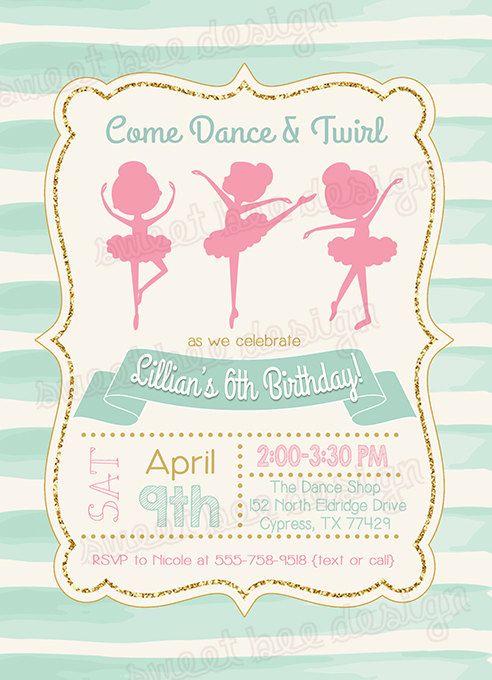 Ballerina Birthday Invitation Ballet by SweetBeeDesignShoppe