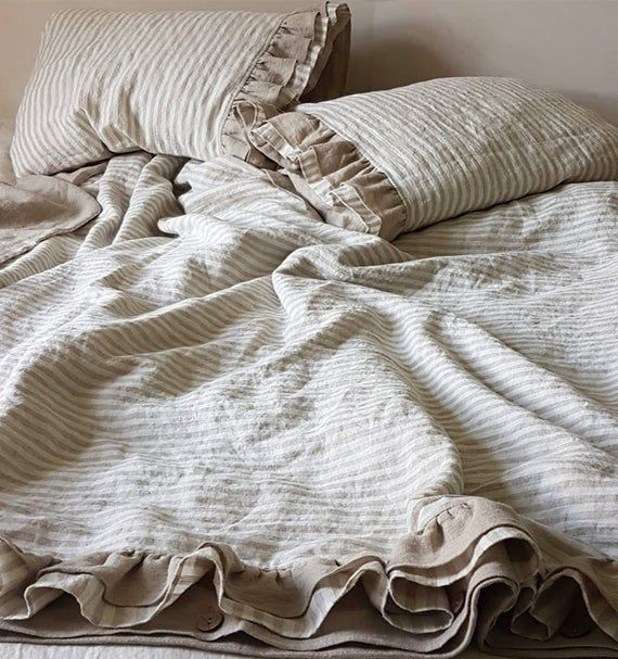 Ruffled Linen Duvet Cover Softened Heavier Striped Linen Etsy In 2020 Linen Duvet Covers Linen Duvet Linen Bedding Natural