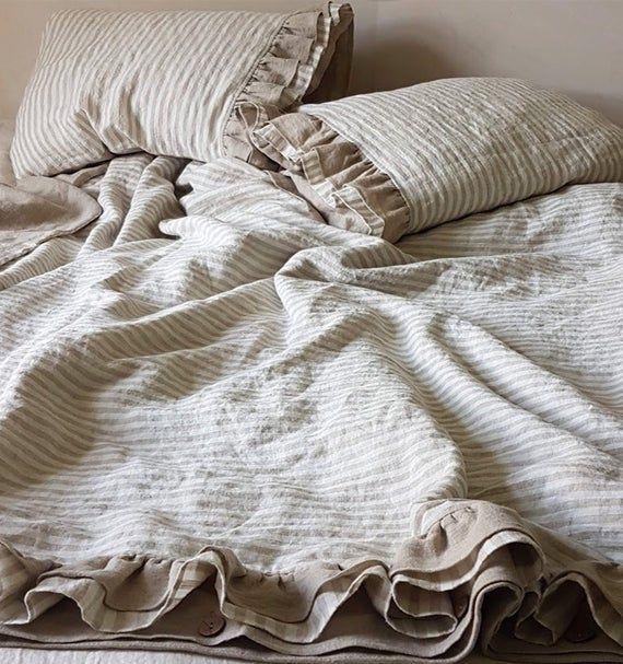 Ruffled Linen Duvet Cover Softened Heavier Striped Linen Quilt Cover With Linen Ruffles At The Bottom Queen King Ruff Linen Duvet Duvet Sets Bed Linen Sets