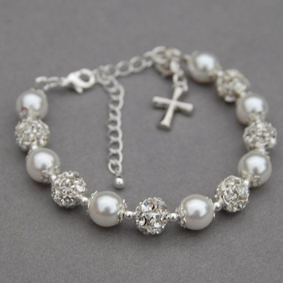Cross Charm Bracelet Holy Communion Gift Baptism by AMIdesigns