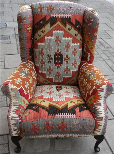 Need to find a wing chair w hidden recliner and a kilim rug to duplicate this Wing Kilim Chair