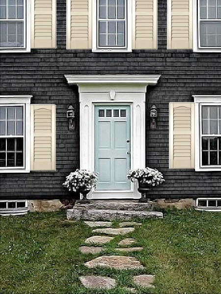 grey siding, tan shutters   For the Home   Pinterest