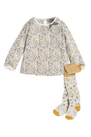Buy Ditsy Top With Ditsy Tights (3mths-5yrs) from the Next UK online shop