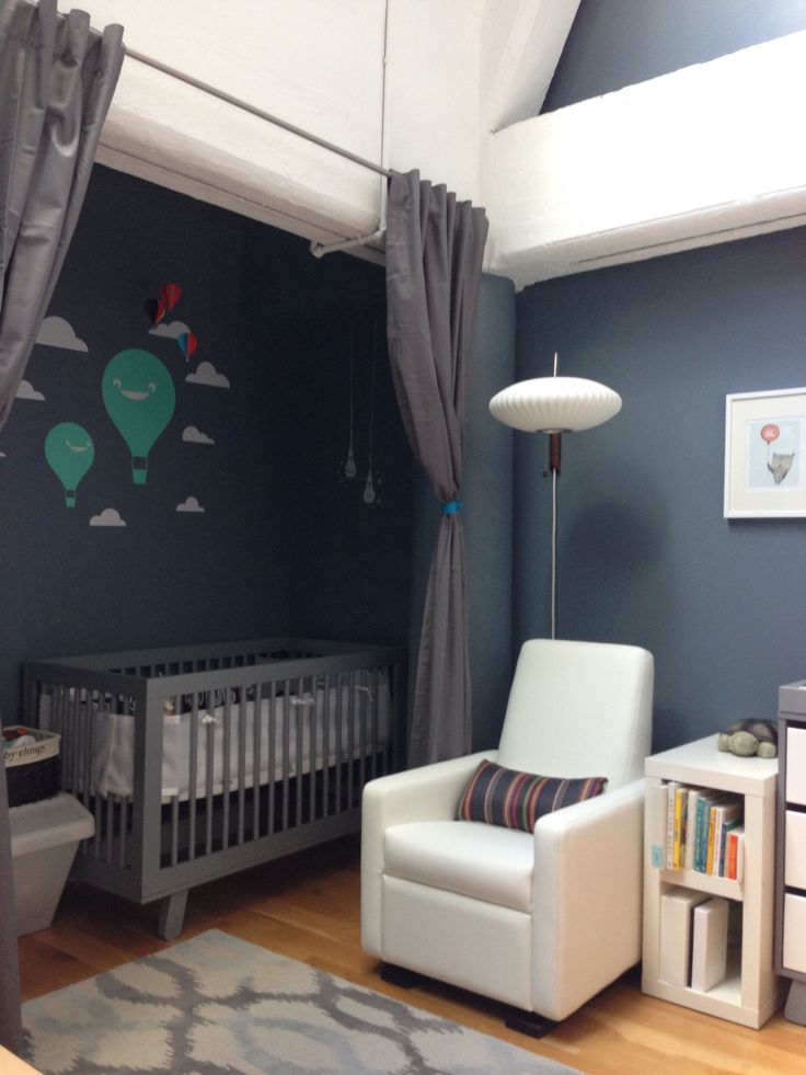 Cute wall decal and crib in closet