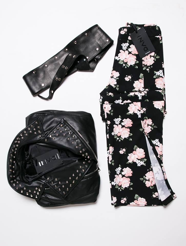 FAVORITE LOOK #DANI  Scoprilo su www.danishop.it pantaloni con spacchi a fiori, giacca e cintura a borchie in ecopelle - flowerpower  - leatherjacket  - blackmood