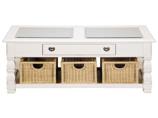 Plantation cove white glass top cocktail table with for Coffee tables value city furniture