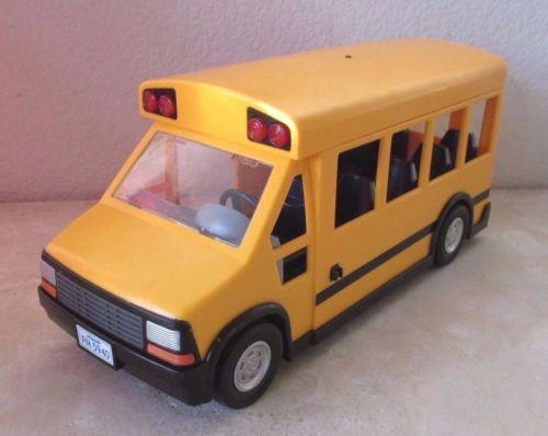 PLAYMOBIL-Yellow-School-Bus-Flashing-Lights-EUC