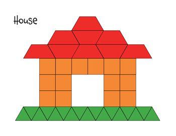 Pattern Block Mat House Math Printables Pinterest