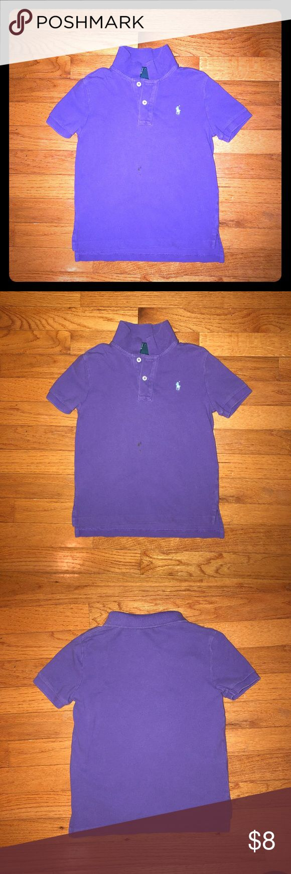 Boys' Purple Polo Shirt Size 5 Little boys' purple Polo Shirt - Used and in good condition except for small marker spot indicated in last picture. Camera flash made it look more noticeable than it really is when on. Otherwise in great condition. Smoke-free home. Polo by Ralph Lauren Shirts & Tops Polos
