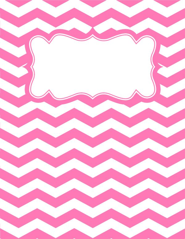 Free printable pink and white chevron binder cover template. Download the cover in JPG or PDF format at http://bindercovers.net/download/pink-and-white-chevron-binder-cover/