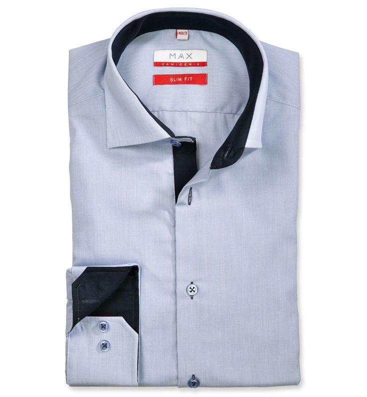 Slim Fit priliehavá modrá prúžkovaná košeľa Popelín (plátnová tkanina)