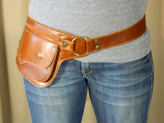 """Leather Utility Belt """"Arizona"""" - Huge hip belt pocket, great for even the largest mobile phones, festivals, concerts, traveling, shopping...  This would look great as a belt for a dress."""