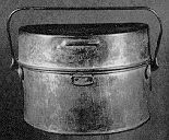 This pattern of mess tin was used by British and Canadian forces from 1800-1939. Supplied with a cloth cover that most soldiers discarded at the first opportunity. It was usually worn hung on the outside of the pack