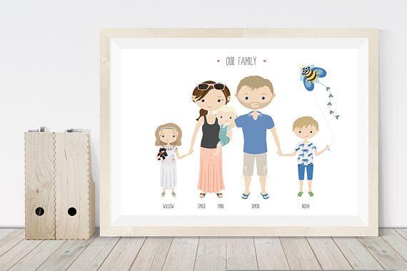 Personalised Family Print Family Gift Custom Portrait Family Custom Illustrated Family Portrait Personalised Family Print Custom Portraits