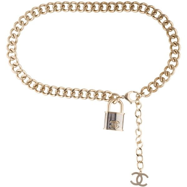 Pre-owned Chanel Chain-Link Waist Belt (87.780 RUB) ❤ liked on Polyvore featuring accessories, belts, gold, gold waist belt, gold chain link belt, chanel belt, chanel and gold belts
