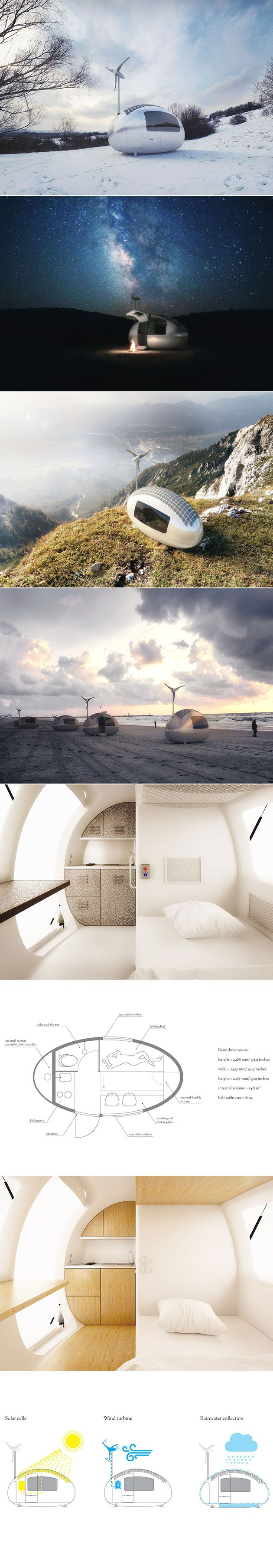 Is your dream to live off-grid in any place of your choosing? The tiny egg-shaped Ecocapsule could be the low-energy home you're looking for. Designed by Bratislava-based Nice Architects, the Ecocapsule is a micro-shelter that packs an impressive sustainable punch—the ultra-portable house is powered by solar and wind energy, and also includes rainwater collection and filtration.