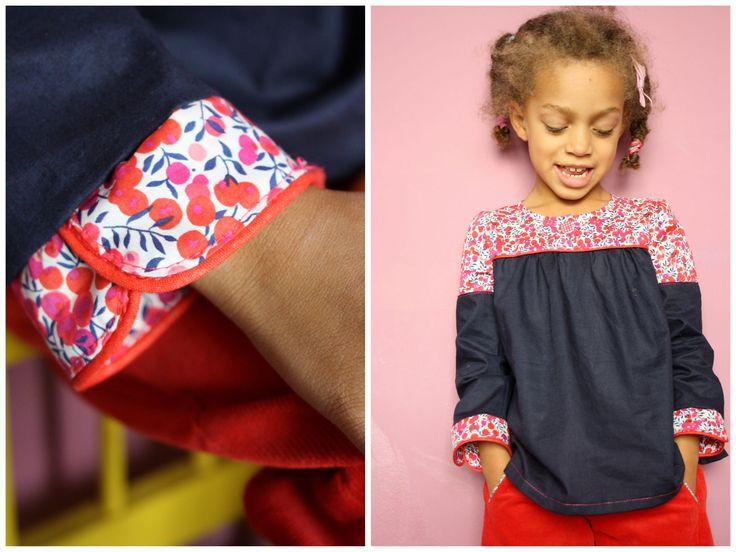 Tunique enfant (modèle C dans Happy Homemade for Kids) avec poignets de manche mousquetaire et passepoil