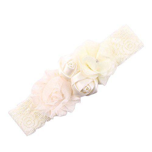 Shineweb Baby Girl Cute Lace Rose Bud Hairband Headband Ivory  ca079aae13a5