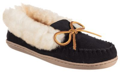 Minnetonka Moccasin Alpine Sheepskin Moc Slippers for Ladies - Black - 11M