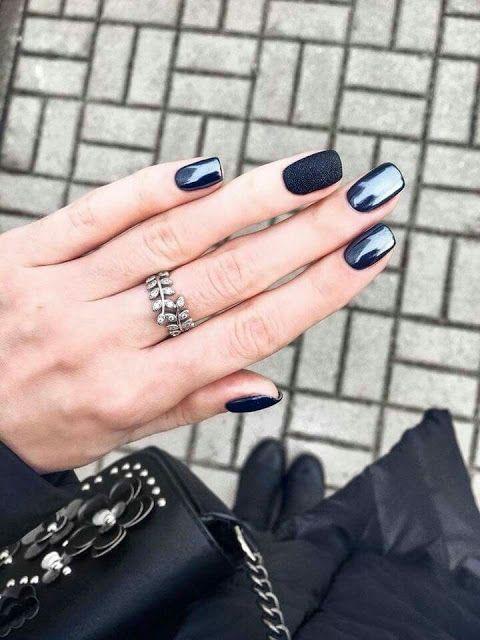 Black nail arts - women black nail arts