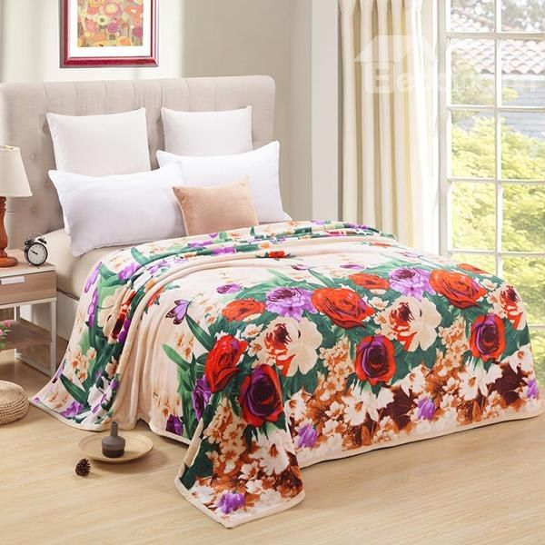 Lovely Red Rose and Butterfly Polyester Blanket on sale, Buy Retail Price Flower Blankets at Beddinginn.com