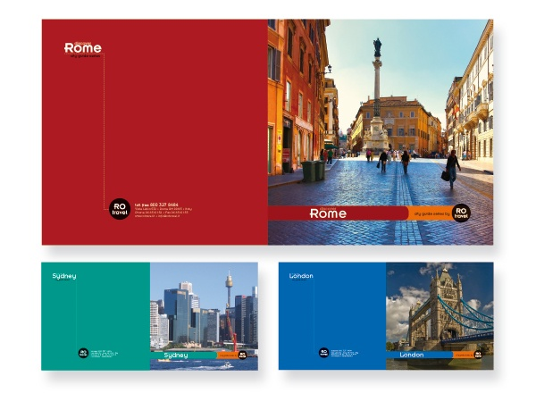 Travel Brochure Design - use one accent colour for a theme