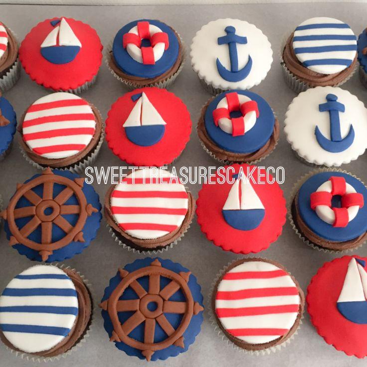 Babyshower goodies 😍.                               Sailor themed babyshower chocolate cupcakes with chocolate fudge icing.                           #cupcakes #sailor #itsaboy #ahoyitsaboy #stripes #boat #anchor #southafrica #joburg #johannesburg #sweatreasurescakeco #sweettreasures