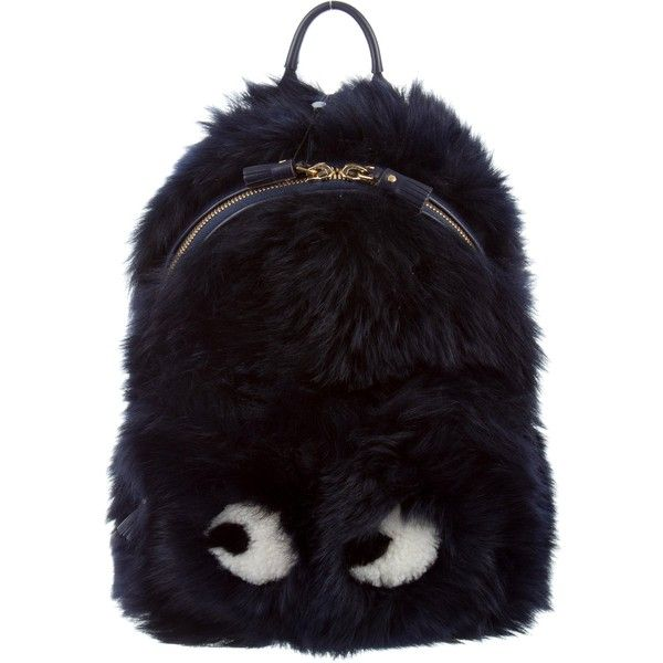 Pre-owned Anya Hindmarch Shearling Mini Eyes Backpack ($845) ❤ liked on Polyvore featuring bags, backpacks, blue, shearling backpack, mini bag, zip bag, decorating bags and anya hindmarch backpack