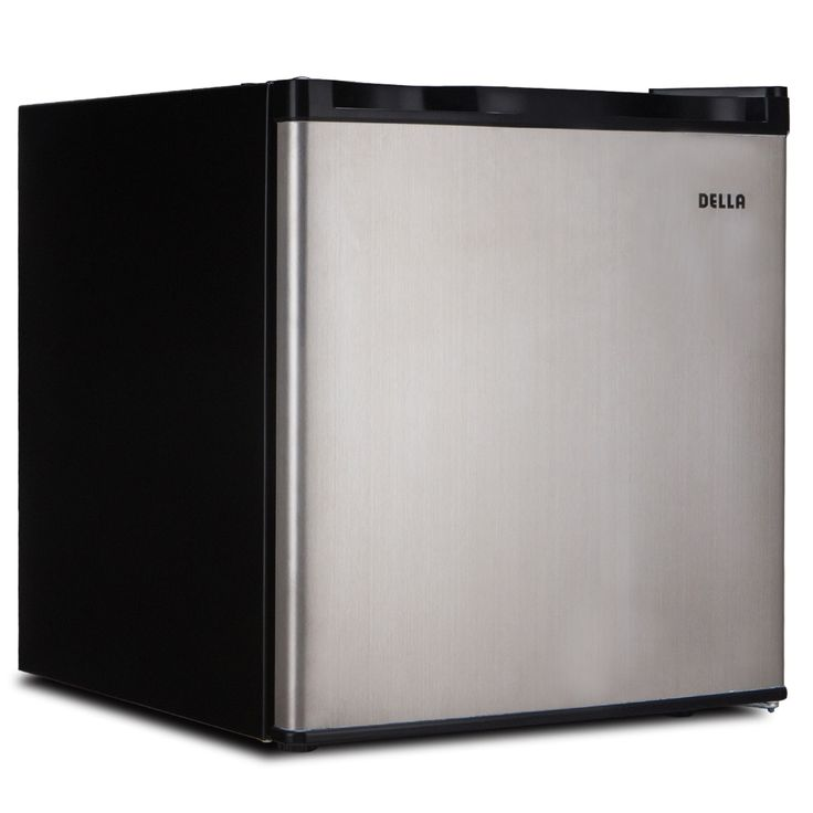 Della Compact Mini Refrigerator & Freezer, 1.6 Cubic Feet, Stainless Steel (Silver)