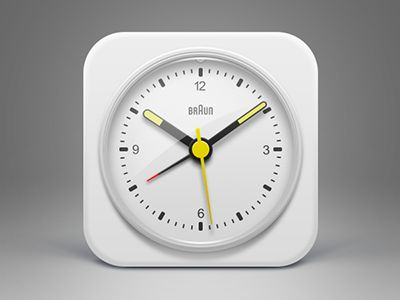 White BRAUN Clock icon by Musical Offering, via #dribbble #icon.