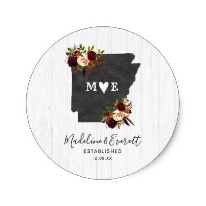 #Arkansas State Destination Rustic Monogram Wedding Classic Round Sticker - #country gifts style diy gift ideas