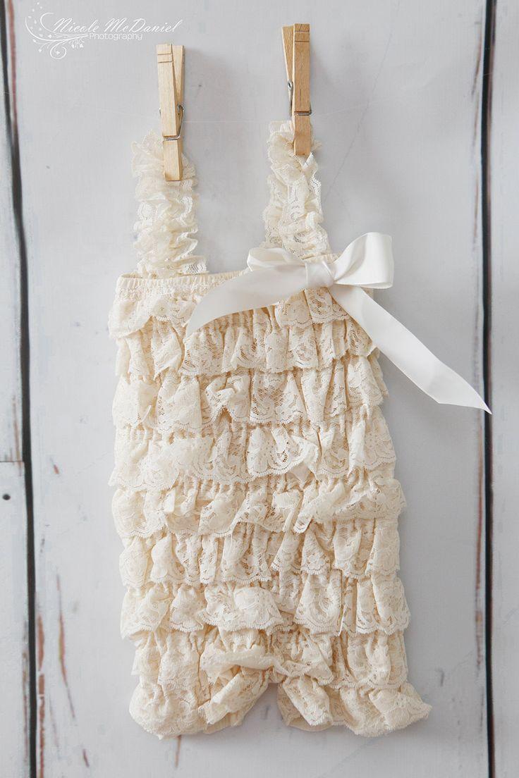 Petti Romper   Ivory/Beige Lace Romper  Girls by PoshPeanutKids, $16.00