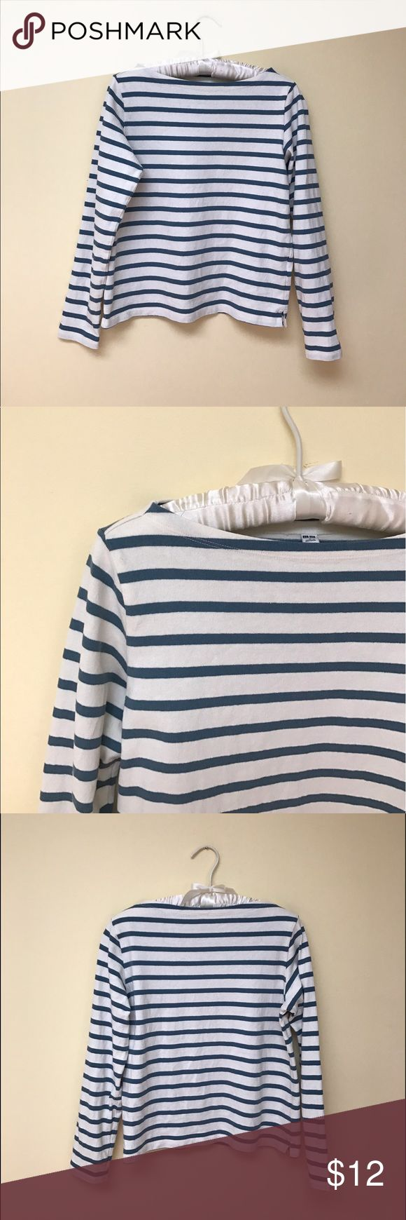 uniqlo | boxy boat neck tee A classic, nautical top in a great quality starched cotton. Uniqlo Tops Tees - Long Sleeve