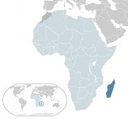 Location of Madagascar(dark blue)–in Africa(light blue &dark grey)–in the African Union(light blue)