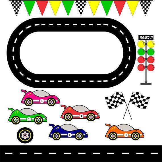 Racing Cars Race Track Clipart Checkered Flag Graphic Clip Art Decorazioni Per Bambini Adesivi