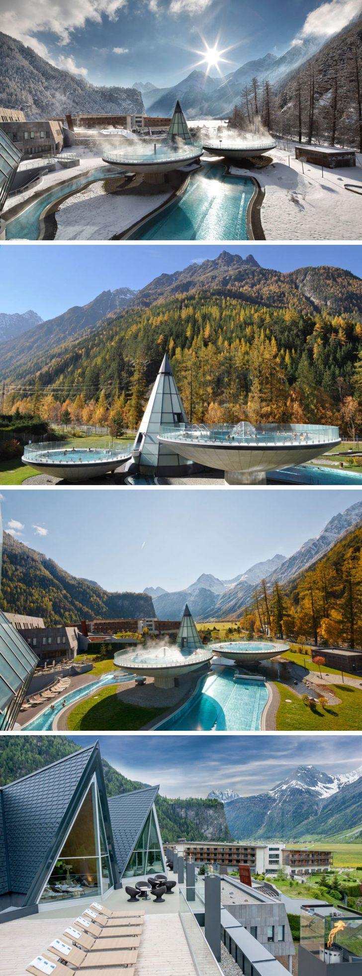 Aqua Dome resort in Austria - externally, a conical volume connects three bowl-shaped pools which seem to levitate above the ground's surface, featuring underwater music and various lighting effects. the jagged roofs of the observation deck echo the formation of the surrounding mountains in shape and materiality, with locally sourced stone used throughout the design...x