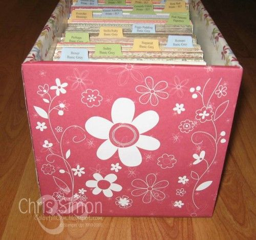 6x6 paper storage idea.  tutorial on the making is in the post.