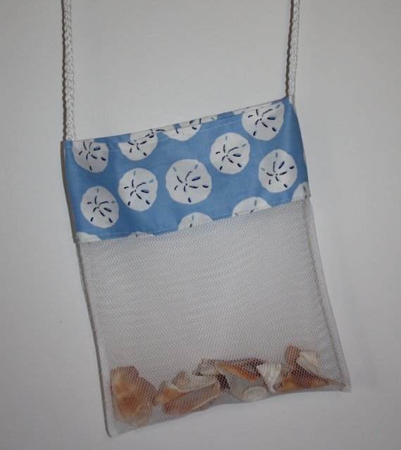 Shell Bag Sand Dollars on Powder Blue Mesh Beach by FrogBlossoms, $9.00